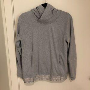 Lululemon Grey Knit Hoodie with Satin Detail